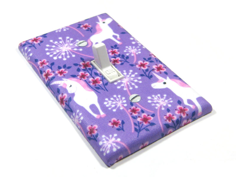 Purple Unicorn Nursery Decor Light Switch Cover